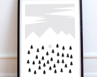 Scandinavian Mountain Minimalist Poster Print- black and white, nordic, Home is Wherever I'm with you. House, Woods
