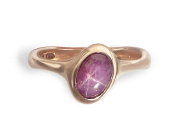 """Fine jewelry. Unique """"Pink"""" Ring.Rare+beautiful Star Ruby set in 9kt Rose Gold.Alternative engagement ring.Contemporary collectible artisan."""