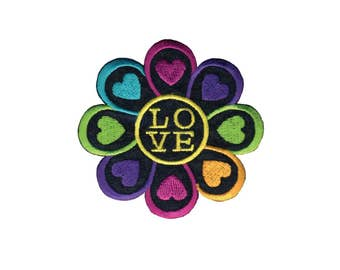 Love Flower Iron On Applique, Floral Iron On Patch, Love Patch, Flower Applique, Love Applique, Heart Patch, Fun Patch, Embroidered Patch