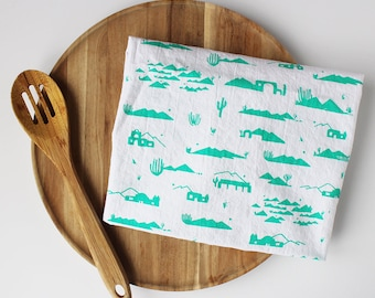 Teal Adobes and Mountains Eco Screen Printed Tea Towel Cotton Flour Sack - 28x29 inches