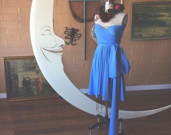 French Atlas Blue-Octopus Convertible Wrap Short Dress- Bridesmaids, Wedding, Plus Size, Maternity