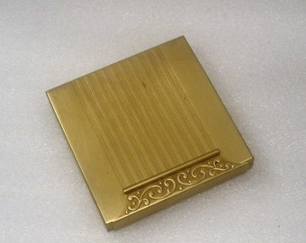 Vintage Avon Compact / All Brass Retro Design w/ Snap Closure / Mirrored with Face Powder Section