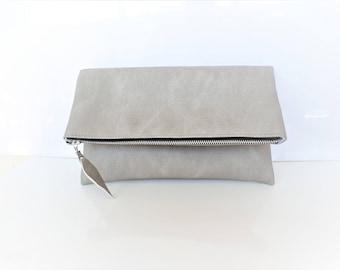 Vegan leather clutch, Leather clutch purse, Light gray clutch, Zipper clutch, Foldover clutch, Dove gray clutch
