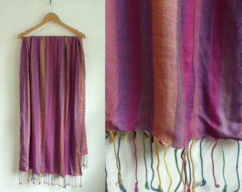 striped scarf, colorful scarf, large scarf, lightweight rayon scarf, fringe scarf, fall scarf, winter scarf, stripes, purple blue gold pink