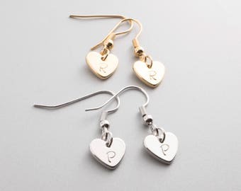 Hand stamped Personalized Lovely Dainty Heart Charm Initial Earring /16k Gold White Gold Plated/ Wedding Christmas Bridesmaids Gifts