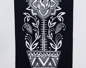 Potted Plant lino cut print (rose)