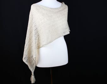 Linen summer poncho, Beige knit shawl, Lightweight poncho, Knitted beige shawl, Summer linen shawl, Womens knitted poncho, Cotton poncho