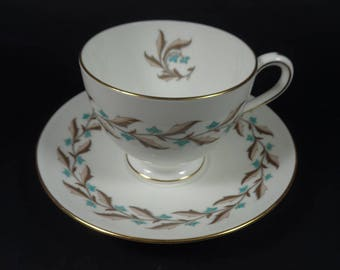Vintage Cup and Saucer Minton Ashton Teacup and Saucer, Floral Tea Cups Made in England, English Bone China, Brown and Turquoise Tea Set