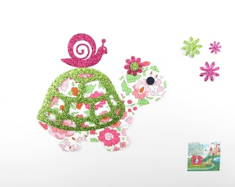 Applique liberty fusing turtle pink flex Anjo fabric glitter paches turtle snail pattern turtle applied fusing liberty fabrics