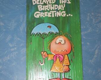Belated Birthday Vintage Greeting Card - unused