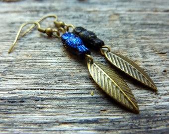 Earrings blue owls and leaf bead Czech glass, blue owl earrings OWL charm.