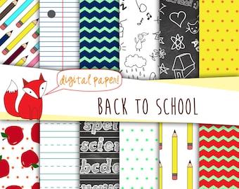 Back to School Digital Paper~ Fall Paper ~ Digital Scrapbooking ~  Digital Backgrounds ~ Printable Back to School Designs
