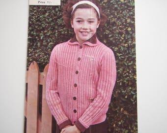 Vintage Girls Cardigan PDF pattern Hand or Machine knit