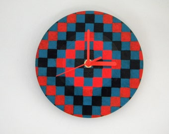 Hand Painted Vinyl Record Clock: Checked pattern (Blue and Red)
