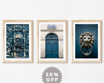 Blue Door Prints, Set of 3 Prints, Fine Art Photography Prints, Gallery Wall Art, Housewarming Gift, Architecture Print Set, Europe Art