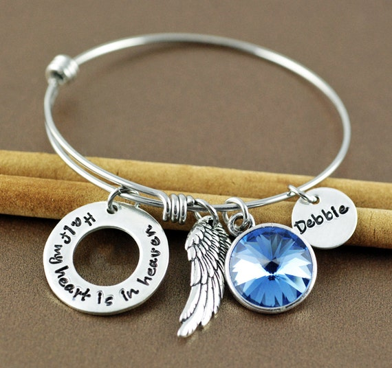Half My Heart is In Heaven, Memorial Bangle Bracelet, Bereavement Jewelry, Hand Stamped Bracelet, Charm Bracelet