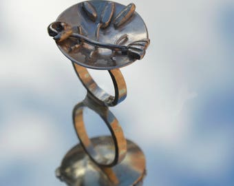 Sterling silver fish n chips ring