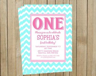 Pink and Turquoise Chevron First Birthday Invitation, One, Custom Digital File, Printable