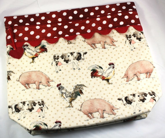 MORE2LUV Polka Dot Barnyard Cross Stitch Embroidery Project Bag