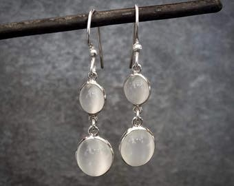Moonstone Earrings, Moonstone Drops, White Moonstone, June Birthstone, Sterling Silver, Semi Precious Stone, Gemstone Earrings