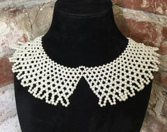 Vintage 80s Beaded Faux Pearl Bib Necklace