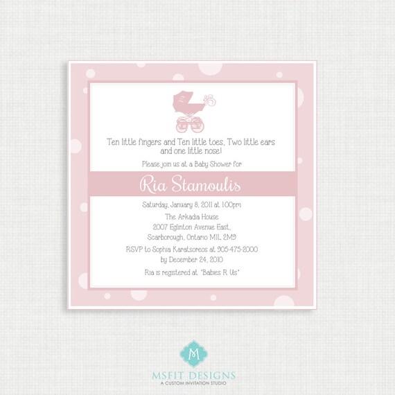 Printable Baby Shower Invitation-Girl Baby Shower Invitation - Printable Baby Shower Invitation - Pram Baby Shower - Baby Girl Invitation