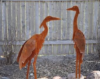 Metal Garden Art, Sculptured Heron Set of 2, unique gifts for women, unique gifts for men, yard art, garden art