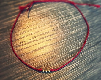 Simple RED thin bracelet with beads