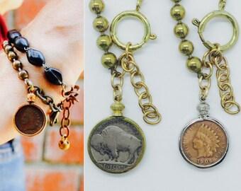 1 Antique coin charm bracelet *BULK OPTIONS* Indian head penny or buffalo nickel native gold brass ox chunky drippy ball chain vintage b14
