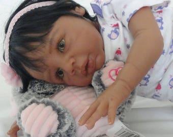 "Reborn Ethnic/African American/Biracial Baby Girl Doll ""Kayla"" from Kyra sculpt"