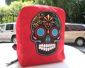 Sugar Skull Canvas Backpack, Red Canvas Knapsack with Sugar Skull Applique