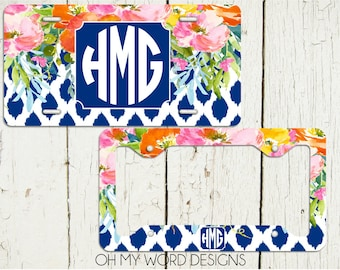 Monogram Car Tag-Personalized License Plate-Monogrammed License Plate-Flower Car Tag-License Plate Frame-Flowers and Ikat Pattern