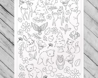 Forest Frenzy Giant Coloring Poster - Woodland Creature Coloring Page by Chromantics