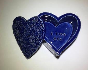 I love you, cobalt blue heart-shaped jewelry box