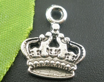 10 Pieces Antique Silver Crown Charms