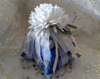 Decorative pillows stacked floral blue/silver handmade