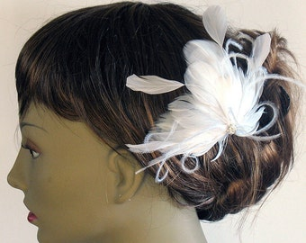 White bridal feather crystal comb - wedding feather fascinator