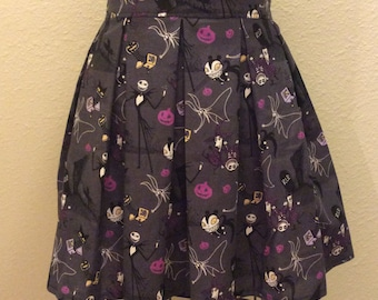 Nightmare Before Christmas Grey and Purple Printed Adult High Waisted Skater Skirts