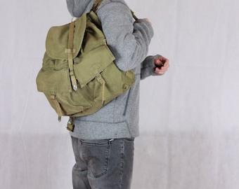Backpack, Canvas Rucksack, Military Bag, Vintage Khaki Canvas Backpack, Hiking Backpack, Hipster Backpack, Military Bags, Army Haversack