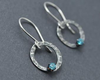 Hammered Earrings, Circle Earrings, Dangle Earrings, Sterling Silver, Oxidised Earrings, Blue Crystal Earrings