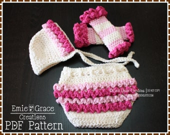 Ruffled Bonnet Hat, Diaper Cover and Leg Warmers Patterns, LILY - pdf 221, 709, 708