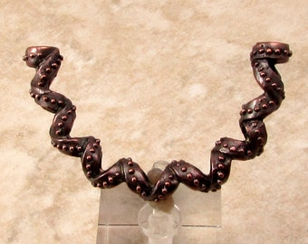 Curlicue Curved Tube Pendant, Bronze Patina, Greek Casting, 50 MM, M425