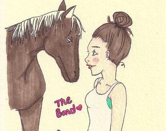 The Bond: A girl & her horse (blank card)