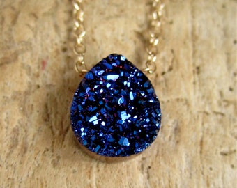Blue Druzy Necklace Titanium Drusy Quartz 14K Gold Fill Chain
