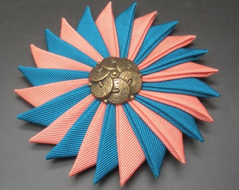 Teal and PeachCocarde Cockade With Metal Button