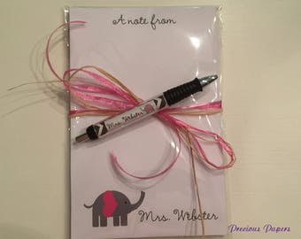 Personalized Teacher Elephant notepad and pen set Teacher notepads teacher pens elephant Gifts