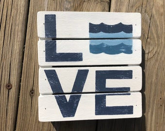 LAKE BEACH LOVE With Waves Wht/Blue Home Cottage Nautical