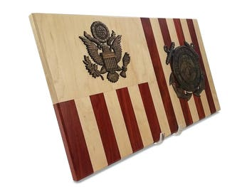 Coast Guard Personalized Retirement Wood Flag Going Away Gift | USCG Gifts