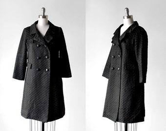 60 mod coat. medium. 1960's pea coat. black embroidered. 60's shift coat.