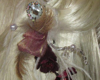 CuSToM made to Order WeDdinG Crystals OStriCh Burgundy Cherry Flowers Hair FasCinator Clip